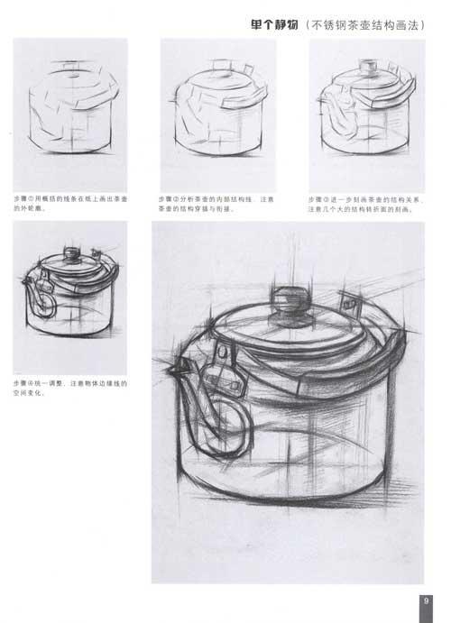 玻璃杯结构素描步骤