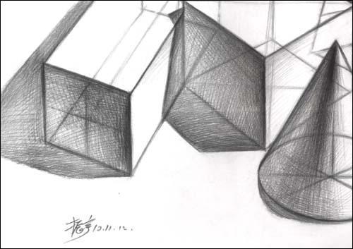 素描多面体透视图