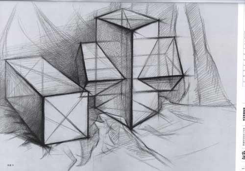 组合几何体结构素描范本-刘军-考试-文轩网