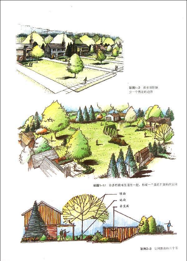 木廊架景观手绘