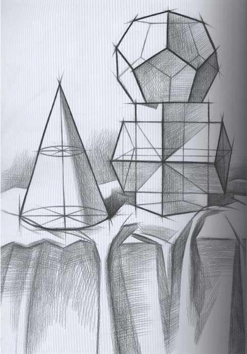 几何石膏体素描 单个五官石膏体素描 几何石膏组合素描图片