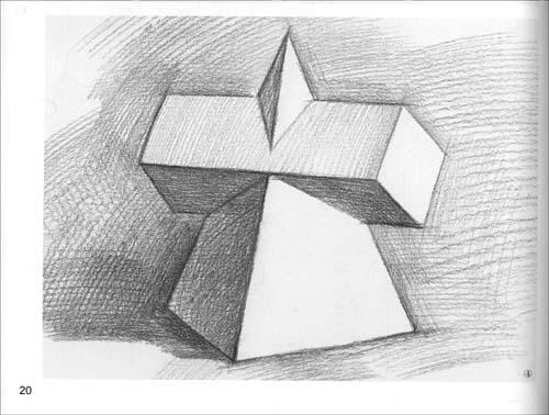 素描几何体圆锥加圆柱图片